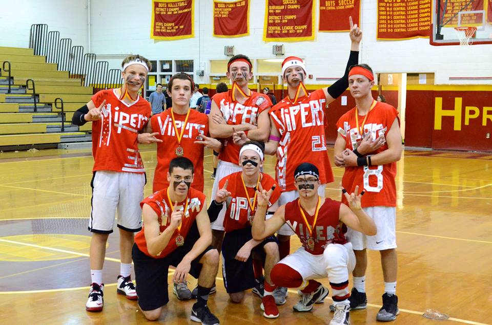 The 2014 Dodgeball Champs, The Vipers, bite the gold after their victory over the Dodge Fathers. The Vipers team includes: Drew Fowler, Luke Marmer,  Jack Halowell, Alex Ramos, Matt McKeon, Chris Trainor, Dylan Rezznick, and Corey Hunt.