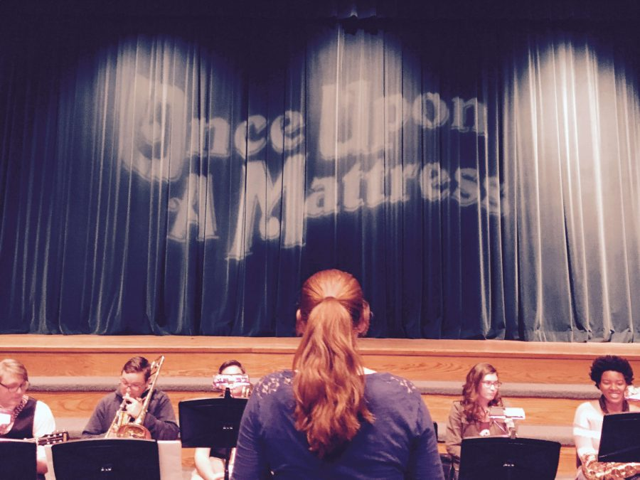 Senior%2C+Liz+Marino%2C+conducts+the+student+pit+orchestra+for+this+year%27s+fall+production+of+Once+Upon+a+Mattress