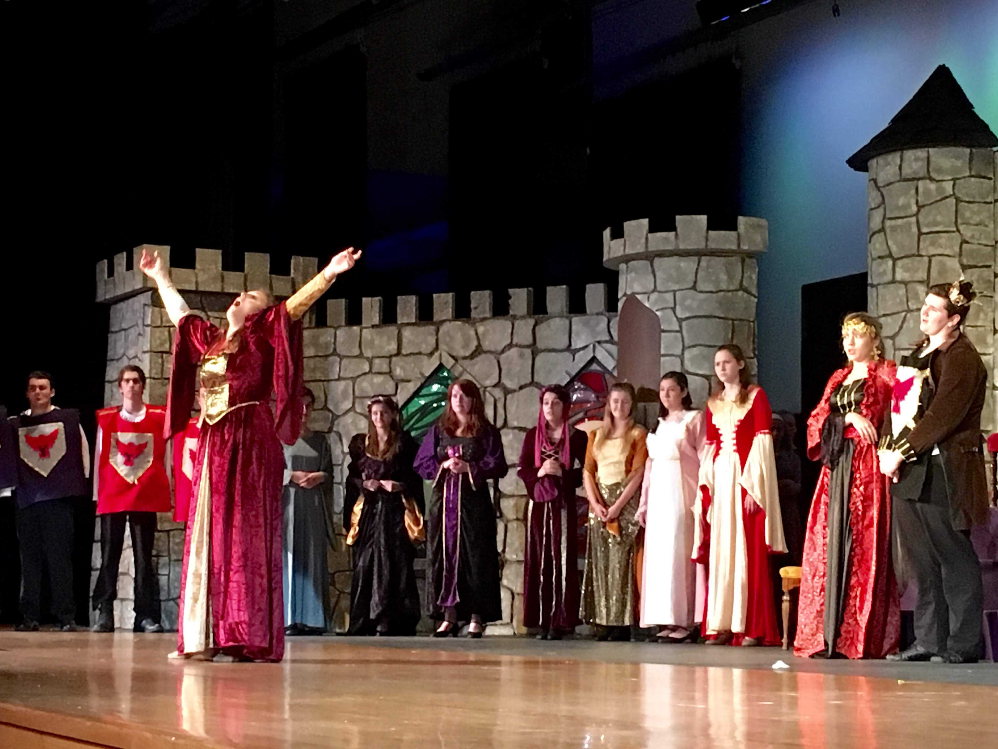 Senior, Sarah Kane, belts out her opening number as Winifred the Wobegon in the drama club's fall show, Once Upon a Mattress