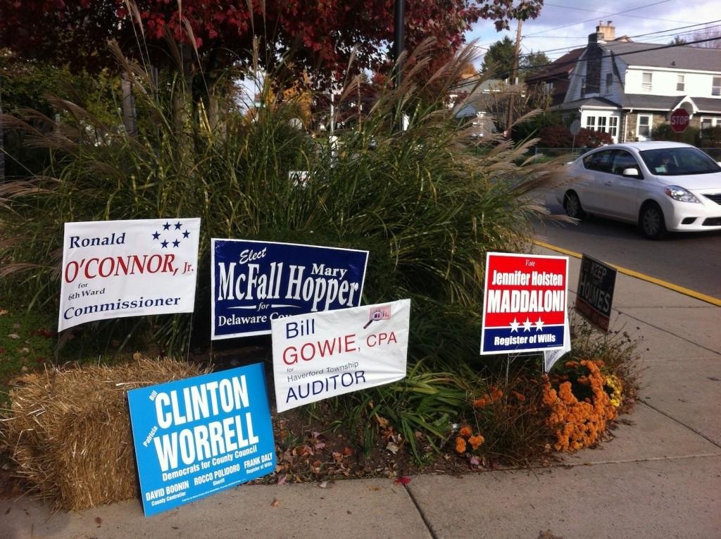 Campaign posters were a familiar sight around election time last month.