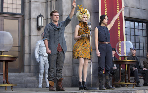 From left, actors Josh Hutcherson, Elizabeth Banks and Jennifer Lawrence.