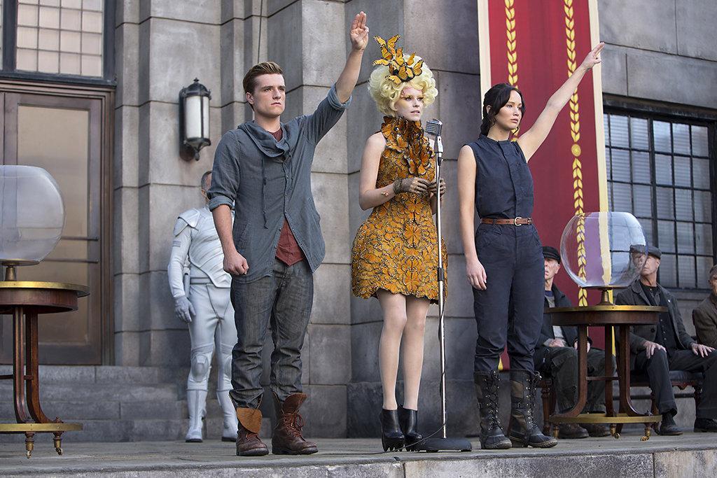 From+left%2C+actors+Josh+Hutcherson%2C+Elizabeth+Banks+and+Jennifer+Lawrence.