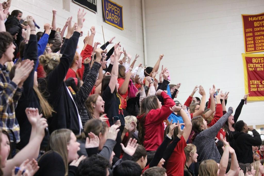 HHS students cheer at the Homecoming activities.
