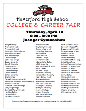 College and Career Fair to be held Thursday, April 10