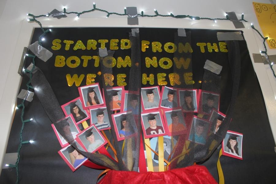 Ms. Stadnicki's senior homeroom, 2015-S wins the top prize in the door decorating competition for 2014