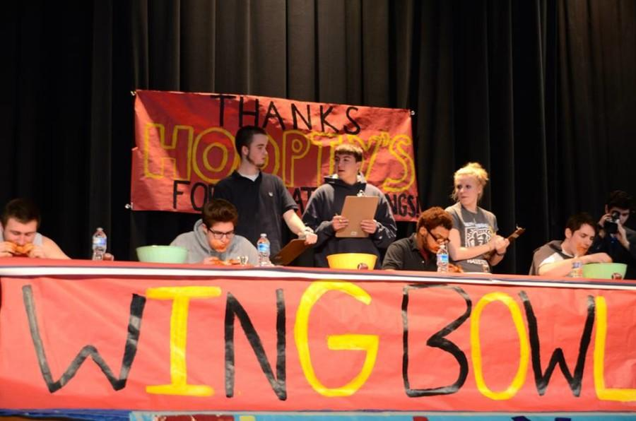 Student wingers competing in the first round of Wing Bowl 2015.