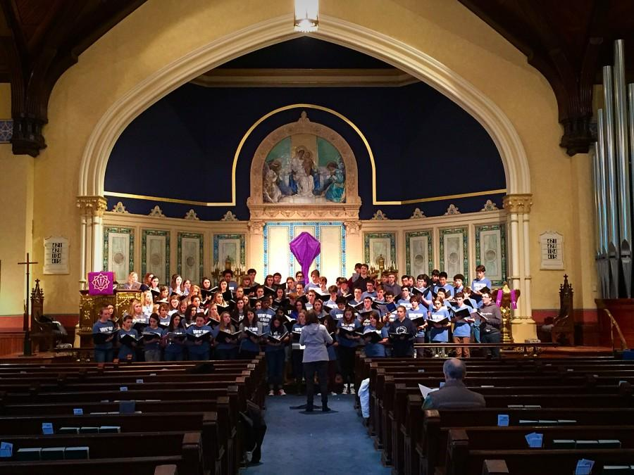 The combined Choirs at their masterclass last Friday, March 6th, 2015