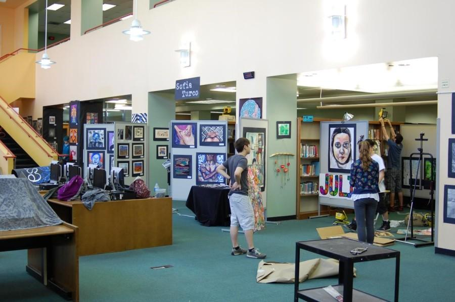 The AP Art show covers all of the first floor of the library from the entrance to where you can go no further.