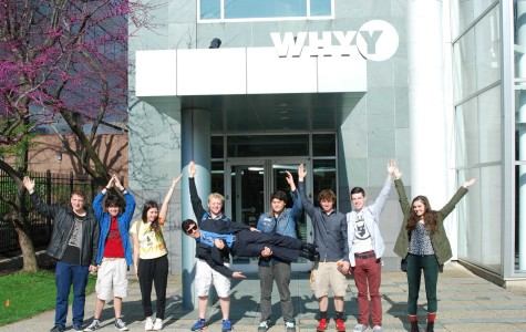 Making the letters W H H Y in front of the WHYY studios in Old City, the directors of WHHS our high school radio station exert their excitement as they wait outside the public radio and television station.