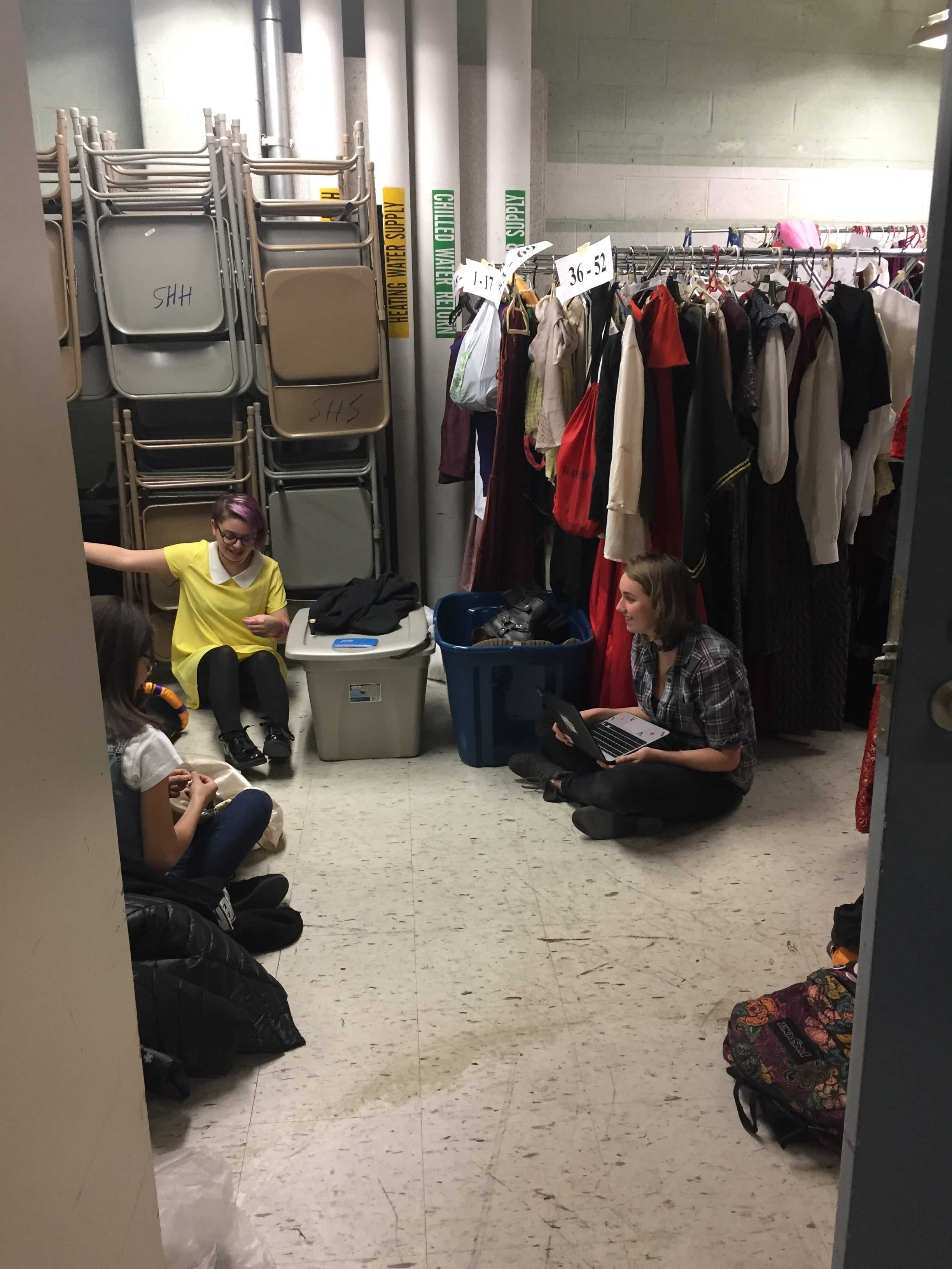 (left to right) with opening night fast approaching, juniors Nikki Moscony, Jessica Dillon, and Caroline Sessa are busy crafting medieval fashions