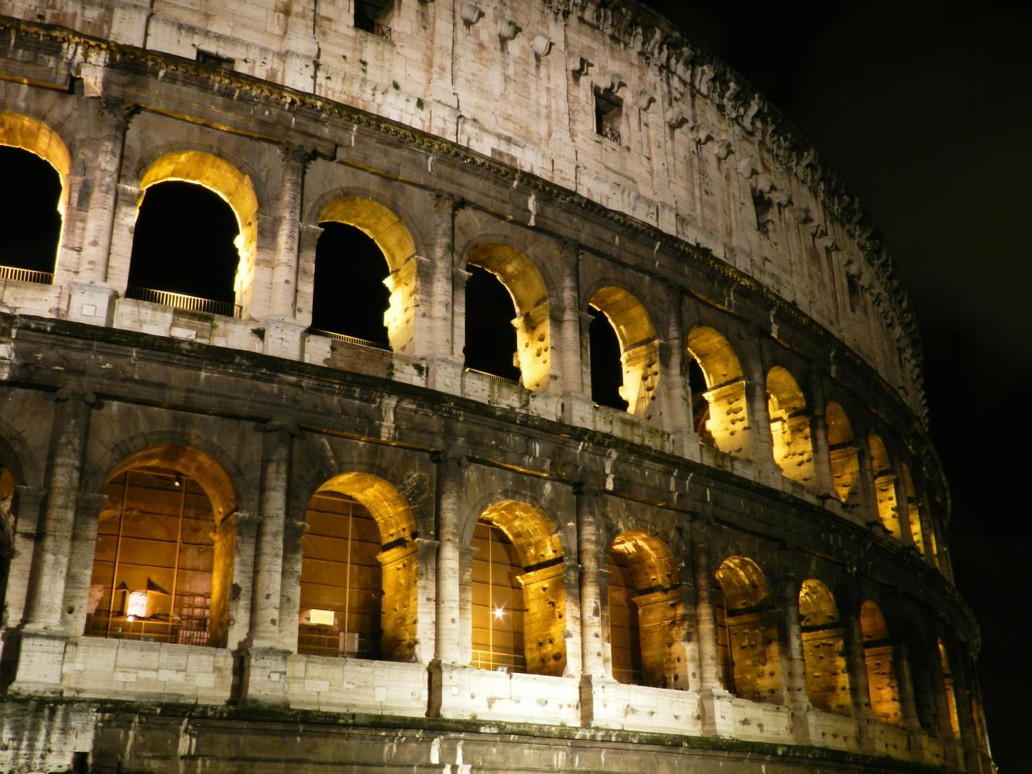 The Colosseum, an amphitheater located in Rome, Italy, is the symbol of Imperial Rome.
