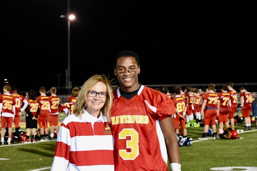 Haverford School District Superintendent, Dr. Maureen Reusche, sponsored a jersey for  junior, Shane Mosley, to support Fords Fight for Life Night.