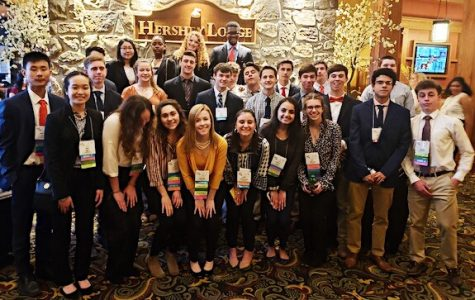 Haverford FBLA members pose inside the Hershey Lodge and Convention Center before entering the awards ceremony.