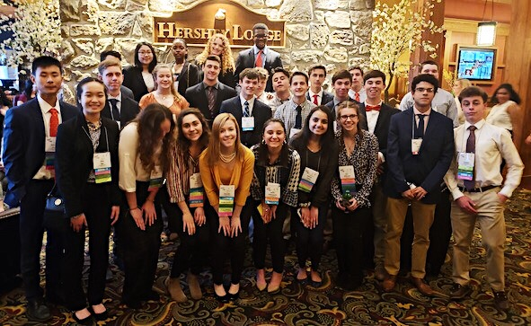 Haverford+FBLA+members+pose+inside+the+Hershey+Lodge+and+Convention+Center+before+entering+the+awards+ceremony.++