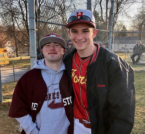 Pictured is Haverford High School's varsity baseball team Captain Simon Curry and longtime Haverford Baseball friend, Sonny DiMartini.