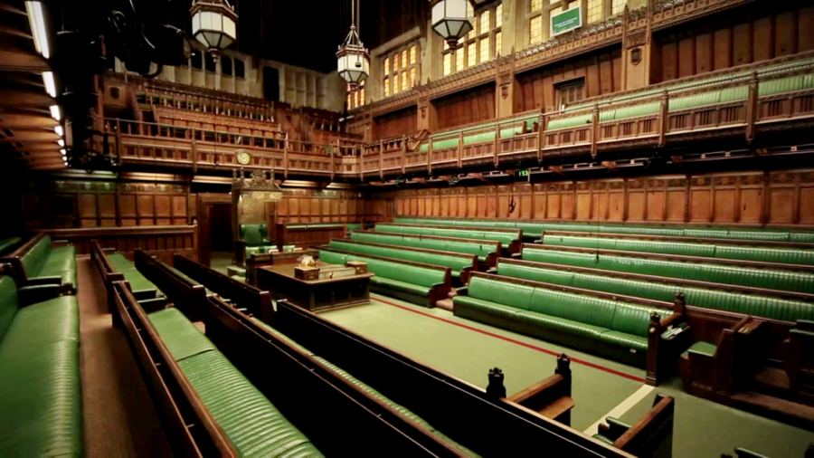 Pictured+are+the+benches+of+the+House+of+Commons+in+Westminster.