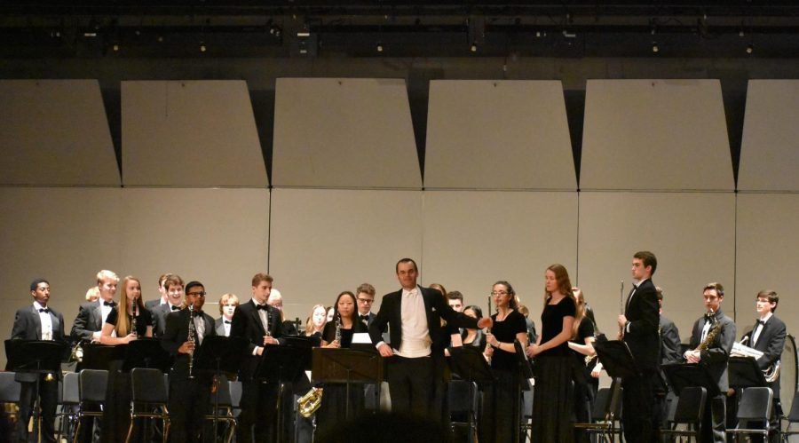 The crowd cheers on the Wind Ensemble after they perform repertoire by Pierre Leemans and  Charles Carter.