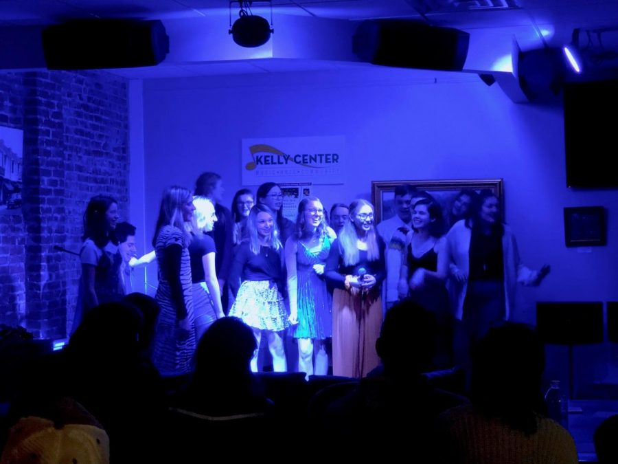 "Final Act: Members of Drama Club gathered on stage together for the singing of ""Mamma Mia"