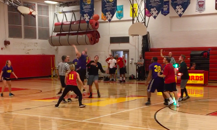 The Haverford faculty competes against the Upper Darby faculty in the  annual homecoming basketball game. Haverford beat Upper Darby 51-46.