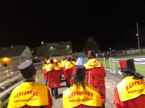 The Haverford High School Marching Band marches out of Kottmeyer Stadium at the end of this season's semifinal game.