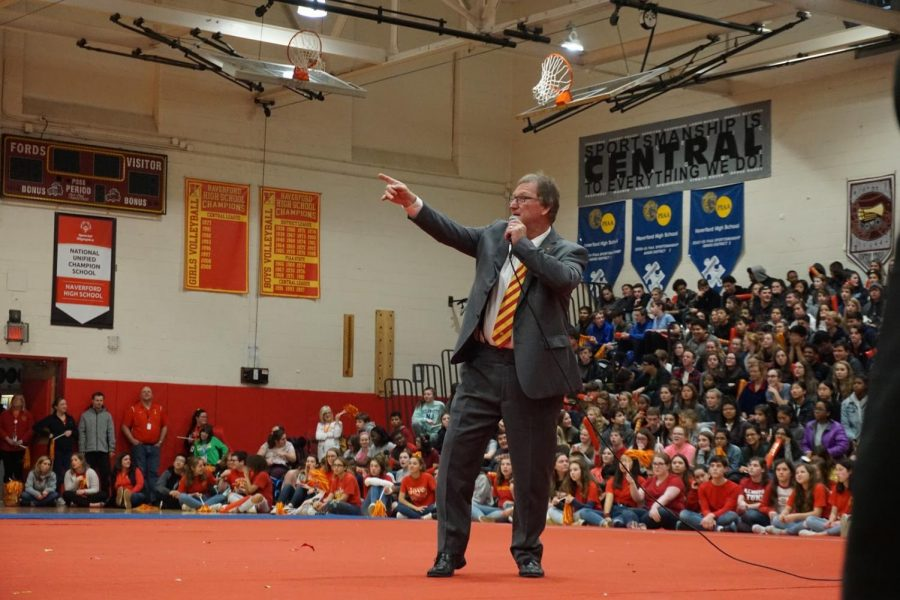 Hyping It Up! Coach Gallagher finishes off the rally by hyping up the crowd for the Thanksgiving Day Turkey Bowl.