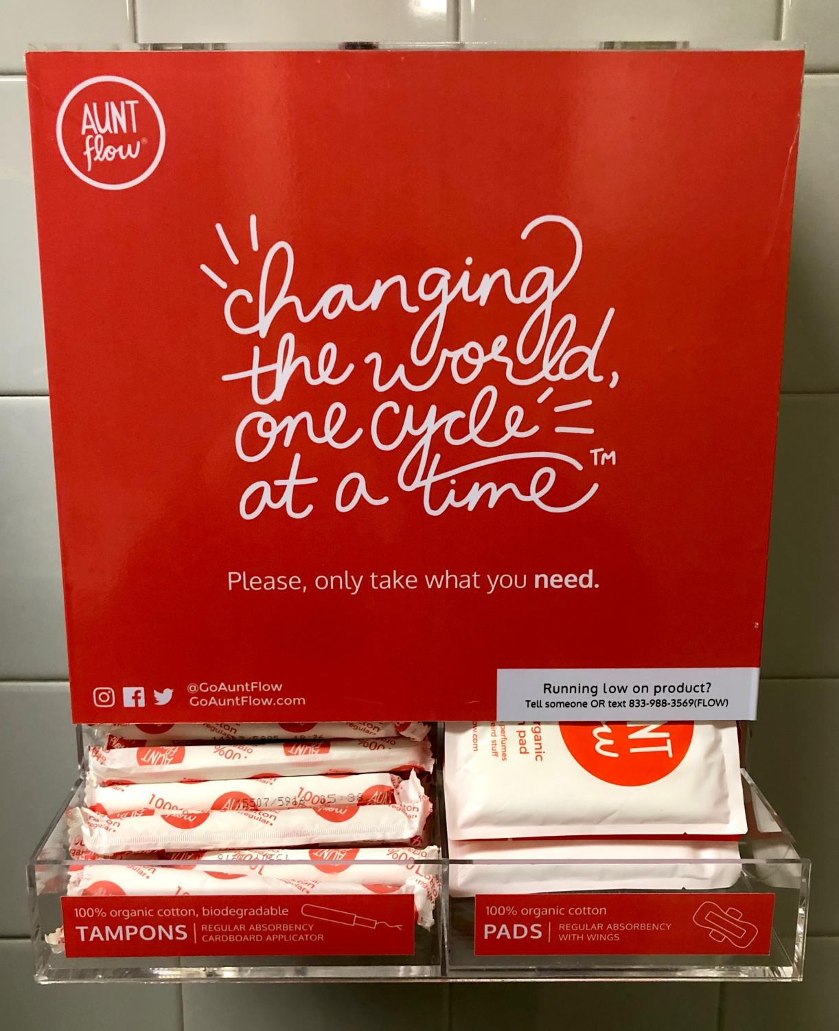 Menstrual products from Aunt Flow, a company that donates one product for every 10 tampons and pads sold, are available in the girls' restrooms at Haverford High School.