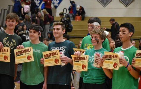 The winning team, Seth's Soldiers, poses with their certificates as Haverford Dodgeball Champions. Team members Casey Gilroy, Jack McKeon, Marc Bronstein, Ryan Redmond, Seth Applebaum, and Xavier Yeremian played hard to win. (Not pictured: Ryan Buckton and John Seidman).