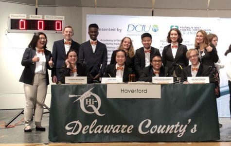 Haverford's team is calm and collected before the start of the competition. (Top, left to right: June Park, Caleb Schmitt, Freddy Quarshie, Emma Whittaker, Tyler Ea, Sophie Helfer, Coach Laurie Grady. Bottom, left to right: Lauren McAdams, Gina Ngo, Jose Policarpio, Ian Kratzinger)