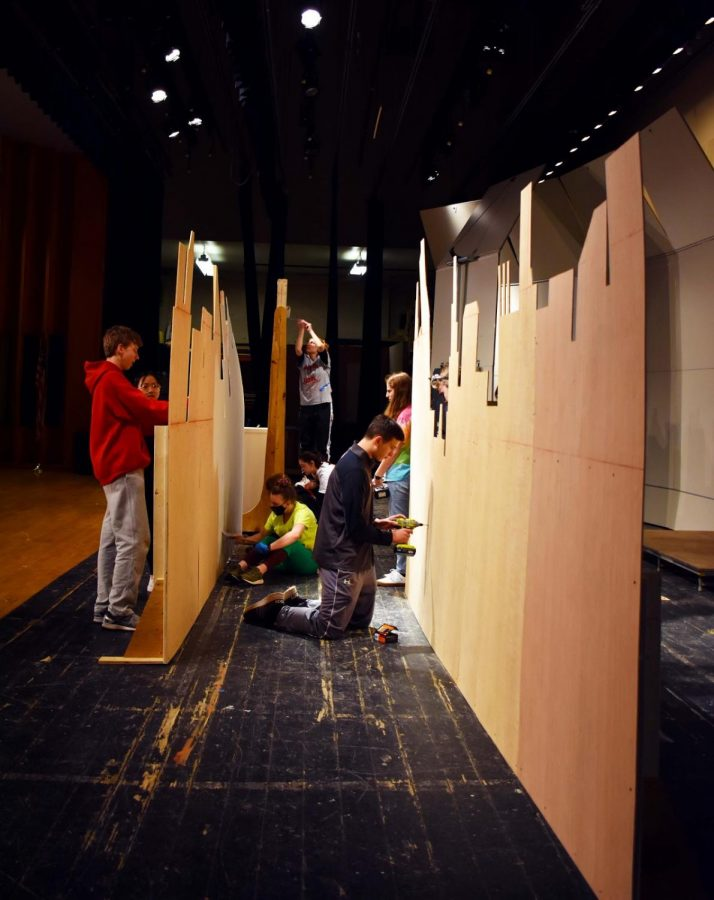 Haverford Drama Club's Set Design team works hard to prepare the set for opening night.