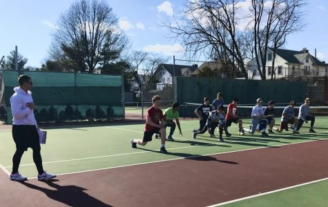 Haverford High School's Boys' Tennis Team warmed up before an afternoon practice in the pre-pandemic beginning of the 2020 tennis season.