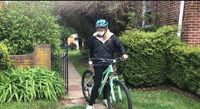 Junior Kathryn Potts rides her bike to exercise and enjoy the fresh air while in quarantine.