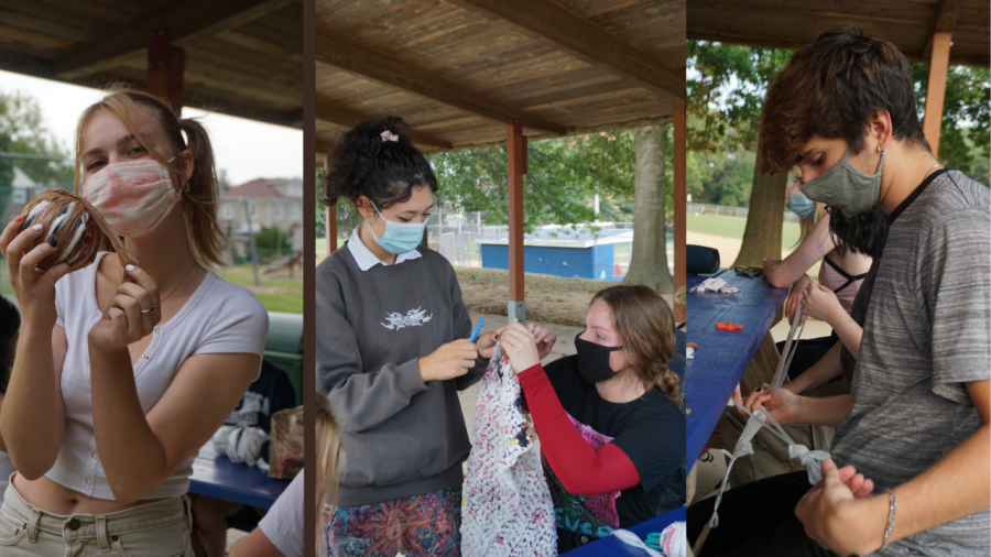 Volunteers meet at The Grange Field to make plarn. (Left to right: Seniors Natalie Dumitrescu, Mia Blatcher, Libby Sweitzer, and Angelo Disprospero)