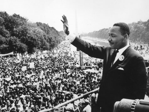 Dr. Martin Luther King, Jr., pictured in 1963 at the March on Washington, inspired many people to advocate for civil rights and seek change in society.
