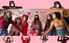 The Peanuts record a virtual singing valentine (with masks) in order to safely continue this Haverford tradition. (Pictured left to right: Junior Macy Dahl, Sophomores Julia Taglang, Tess Madonna, Kara Lacianca, Brigit Brennan, and Chloe Hyun)