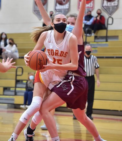 Sophomore Caroline Dotsey pushes forward in a game against Garnet Valley.