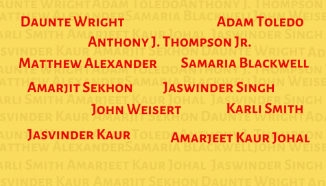 This graphic displays some of the names of the many gun violence victims from March and April 2021.