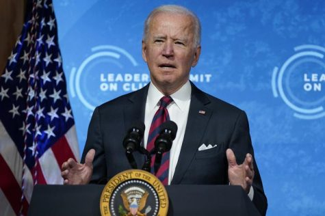 President Joe Biden speaks to the virtual Leaders Summit on Climate, from the East Room of the White House.
