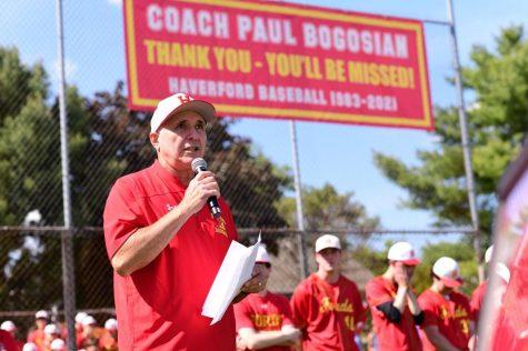 Coach Paul Bogosian delivers his farewell speech.